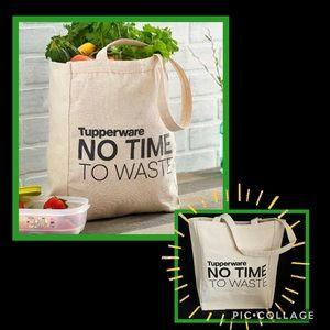 •New Reusable Tupperware Canvas Tote Bag•